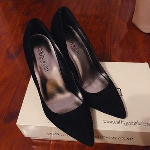 Black suede point high heels
